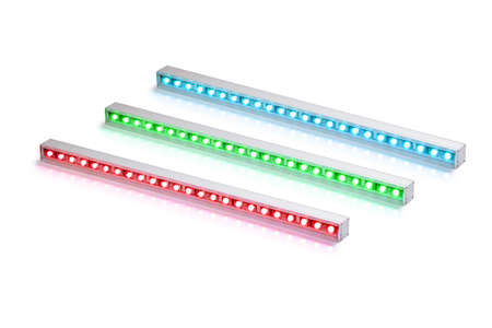 Set of green red and blue aluminum LED flood light bars for energy saving idustrial or decorative lightning isolated on white background.