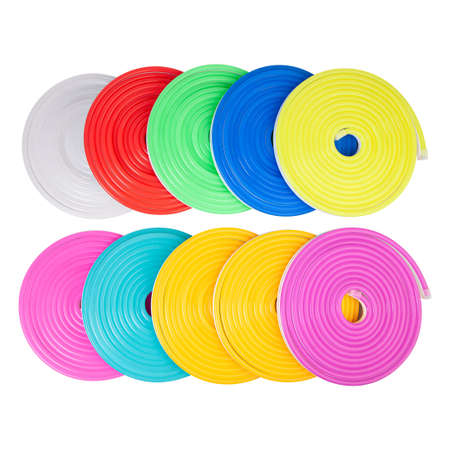 Flexible led tape neon flex in different colors in rolls on white background. 版權商用圖片