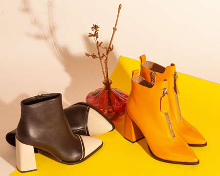 A set of women's shoes shot in the studio on yellow background in retro style with vase.