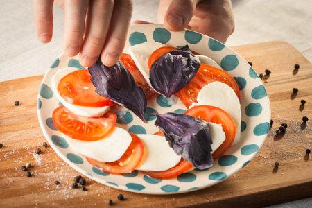 Caprese salad with mozarella cheese, tomatoes and basil. Foto de archivo