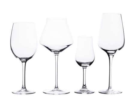 Set of vine glasses isolated on white background. Foto de archivo