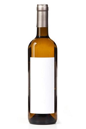 White wine bottle mock-up on white background. Foto de archivo
