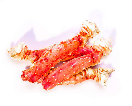 Steamed Crab Legs isolated on white background. Foto de archivo
