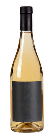 White wine bottle isolated over white background. Foto de archivo