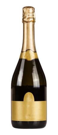 Bottle of champagne with blank lable isolated on white background.