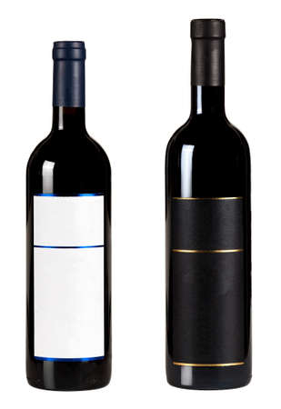 Set of two bottles with blank labels of red wine isolated on white background.