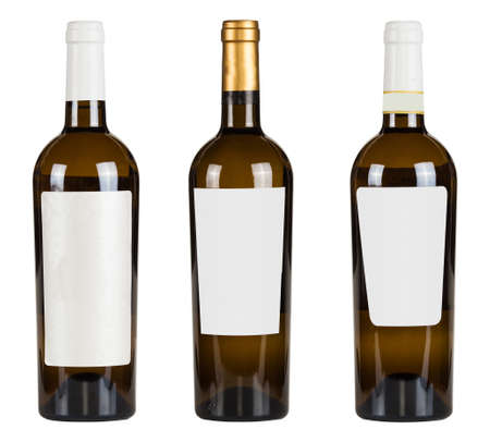 Set of wine bottles with blank lable isolated on white background.