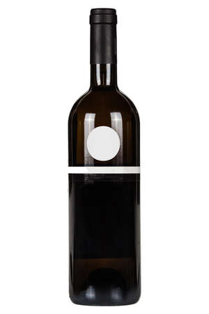 Red wine bottle with blank lable isolated on white background Foto de archivo