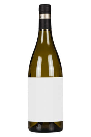 White wine bottle with blank lable isolated on white background Foto de archivo