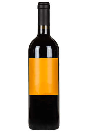 Red wine bottle with orange lable isolated on white Foto de archivo