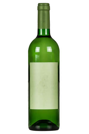 Green wine bottle on a white background