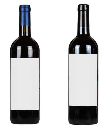 Set of two bottles with blank labels of red wine isolated on white background Foto de archivo