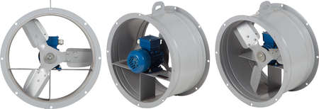 Industrial air blower turbine fan for ventilation and air conditioning isolated on white background.