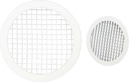 Circle vent window girill on white background. Foto de archivo