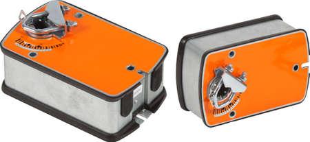 Orange ventilation damper actuator isolated. Foto de archivo