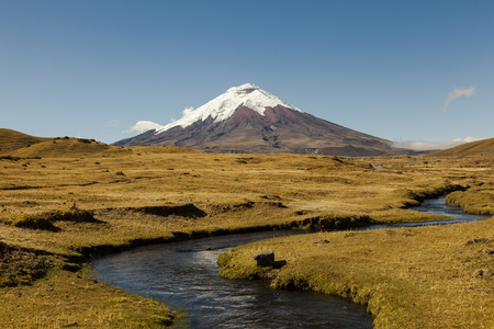 North entrance of Cotopaxi National Park, in the background the volcano and stream in the foreground Фото со стока