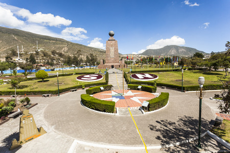 Middle of the World Monument, one of the most visited by tourists from worldwide locations, Quito, Ecuador. Фото со стока