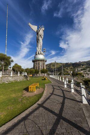 winged dragon: Virgen del Panecillo, monumental sculpture in aluminum metal. Quito, Ecuador