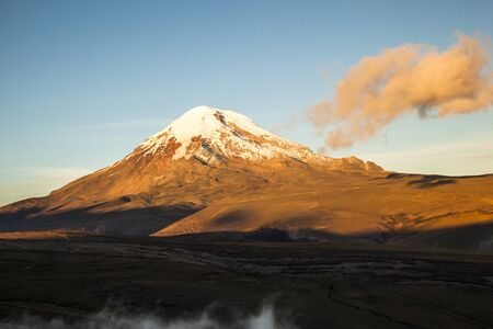 inactive: Chimborazo volcano at sunset, Andes, Ecuador Stock Photo