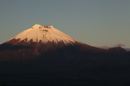 glaciar: Volcano Cotopaxi and Morurco seen from the west at sunset, Andes of Ecuador