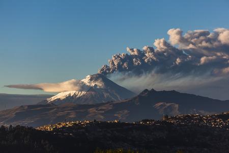 erupting: Cotopaxi volcano eruption seen from Quito, Ecuador