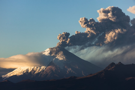 volcano: Cotopaxi volcano eruption seen from Quito, Ecuador
