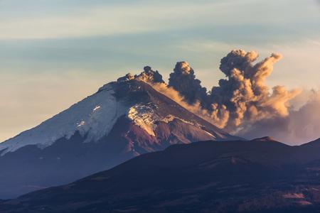 quito: Cotopaxi volcano eruption seen from Quito, Ecuador