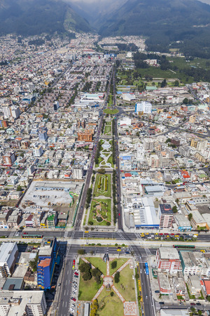 av: Aerial view north central Quito, Av. Sector Marian de Jesus