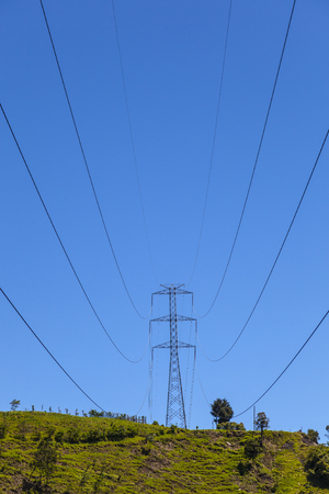 power cables: Steel tower and cables for power transmission