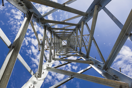 postes: Steel tower view from below Stock Photo