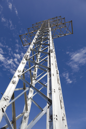 postes: Steel tower for transmission of electric energy Stock Photo