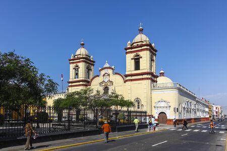 san agustin: TRUJILLO, PERU -August 3: Historic Church San Agustin in the Spanish colonial city on August 3, 2112 in Trujillo, Peru.