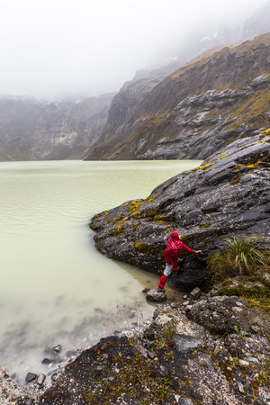 Climber in the Yellow lagoon crater of El Altar