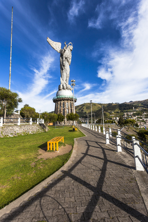 winged dragon: QUITO, ECUADOR - JUNE 14, 2015: The monument of the Virgen del Panecillo looks magnificent in the morning on top of the small hill in the center of the city of Quito. Editorial