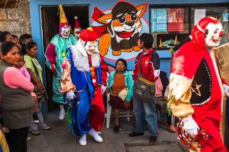 parades: Nayon, Ecuador, July 24, 2015: Popular festivities in the town of Nayon, processions and parades are held in the streets of the town.
