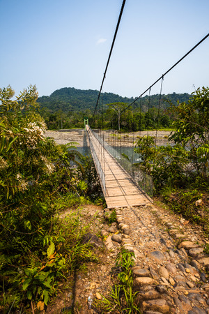 river banks: Hanging bridge over river Arajuno, Ecuadorian Amazon Stock Photo