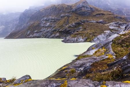 Yellow lagoon crater of El Altar volcano Stock Photo