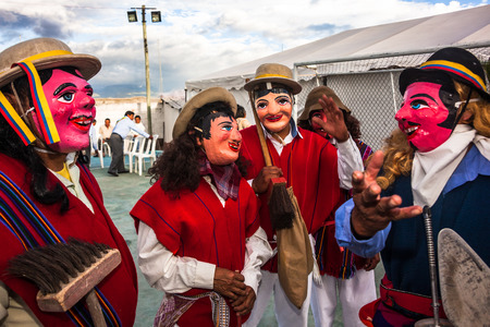 processions: Nayon, Ecuador, July 24, 2015: Popular festivities in the town of Nayon, processions and parades are held in the streets of the town.
