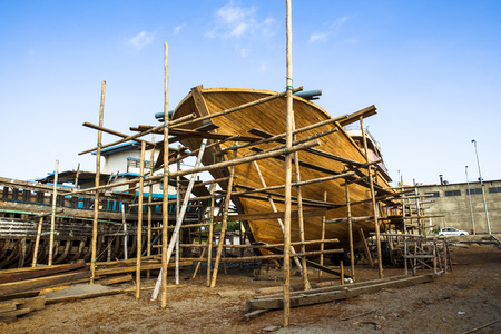 Wooden construction of yacht boat, craft shipyard