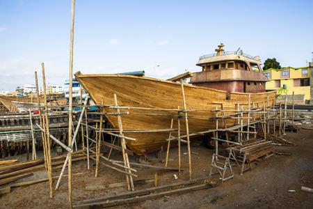 Houten constructie van de jacht boot, ambacht scheepswerf
