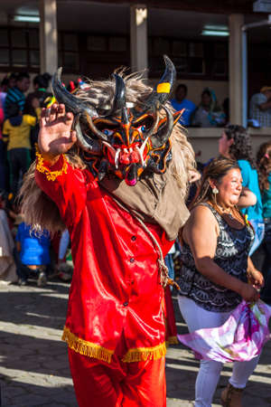 festivities: Píllaro, ECUADOR - FEBRUARY 6, 2016: Unidentified man, dressed as Devil in the diabladas festivities in Pillaro.