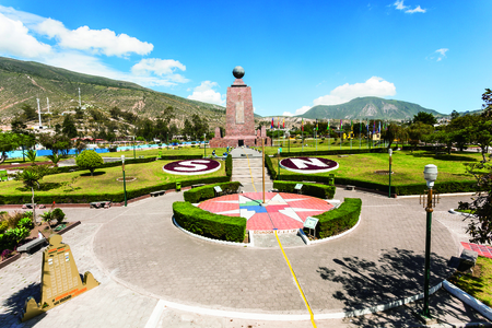 Middle of the World Monument, one of the most visited by tourists from worldwide locations, Quito, Ecuador. 스톡 콘텐츠