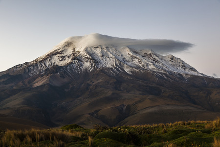 inactive: Extinct volcano Chimborazo, at dusk, the highest of Ecuador