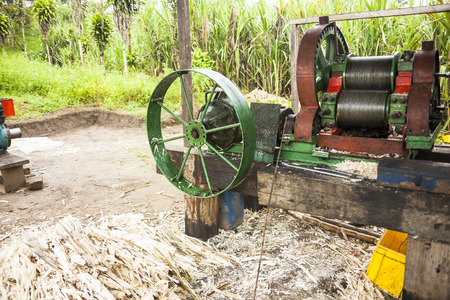 antique factory: Trapiche to extract sugarcane juice Stock Photo