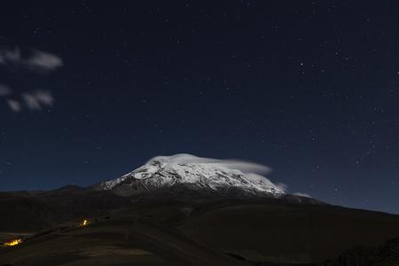 black moor: Extinct volcano Chimborazo, at night, the highest of Ecuador