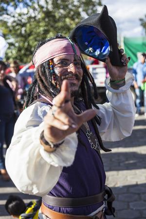 festivities: Píllaro, ECUADOR - FEBRUARY 6, 2016: Unidentified man, dressed as Captain Jack Sparrow in the diabladas festivities in Pillaro, January 6, 2016.