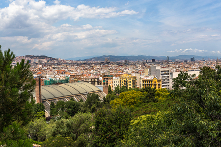 montjuic: View of the city of Barcelona from the gardens of the National Palace