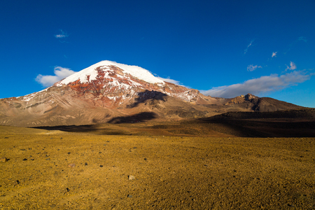 Chimborazo volcano, the furthest point from the center of the earth, is majestic at sunset Stock Photo