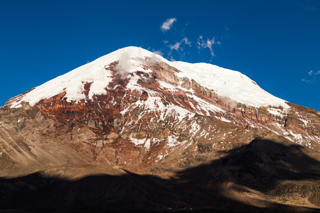 Chimborazo volcano, the furthest point from the center of the earth, is majestic at sunset and blue sky