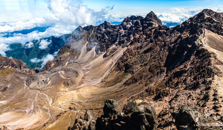 Panorama of the crater or boiler of the active volcano Guagua Pichincha